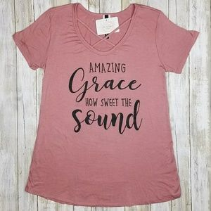 Simply Soigne Boutique Tops - Mauve Criss Cross Amazing Grace Top